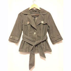 Robert Louis Belted Blazer dark grey suit jacket